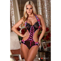 Romantic pink and black lingerie body - Flirtywomen