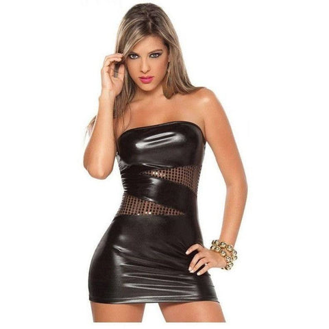 Shiny black mini dress for <span class=money>€19.95 EUR</span> at Flirtywomen