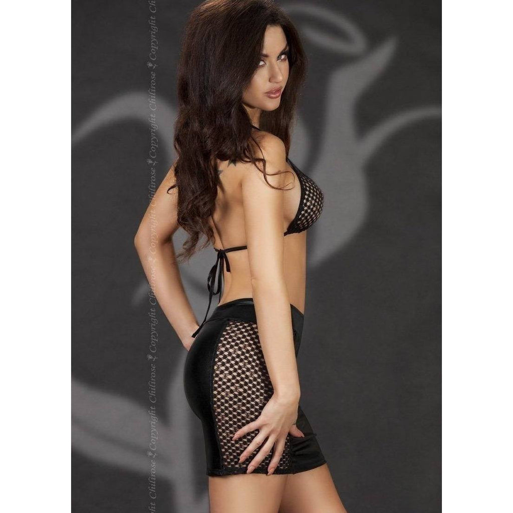 Black wet-look skirt with a fishnet bra top - Flirtywomen