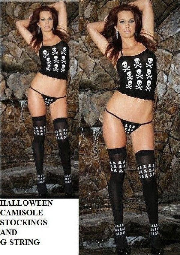 Skull Print Opaque Cami Set with stockings