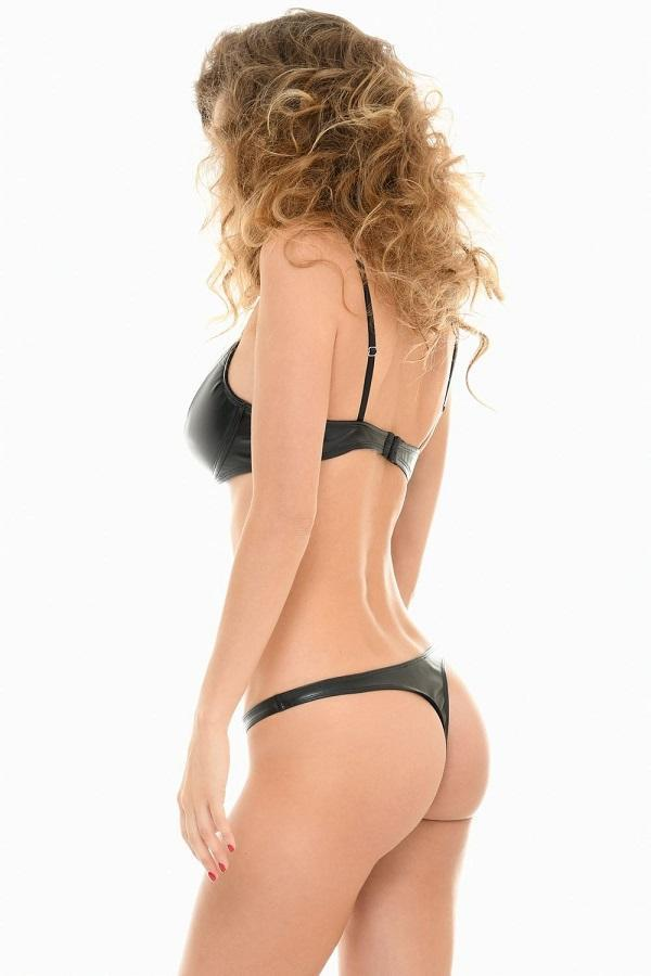 Black PU Thong