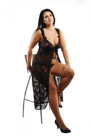Plus size long lace nightdress