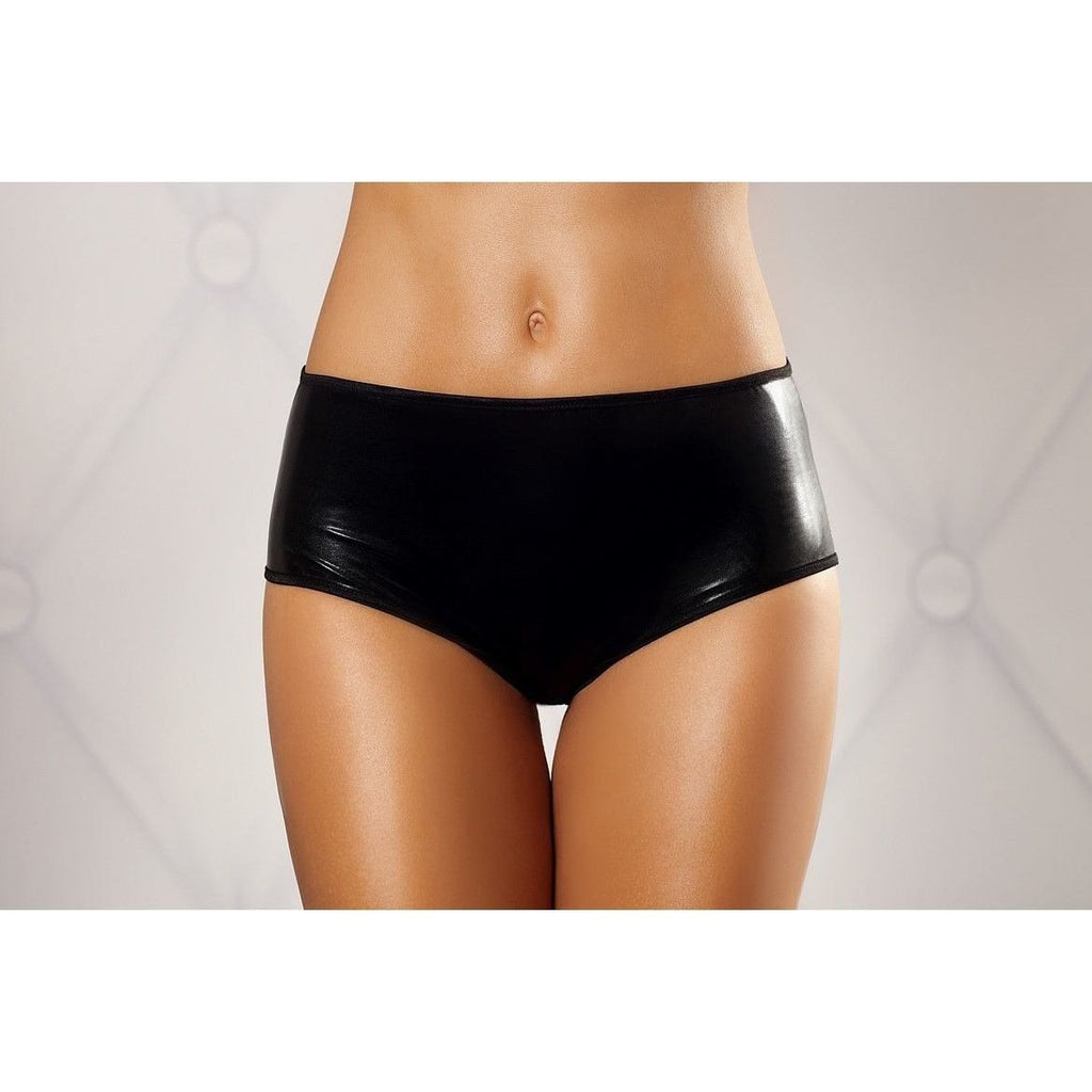 Black wet-look fabric briefs with bow detail at back - Flirtywomen