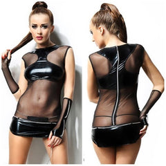 Wet-look Dress With A Thong And Chain Gloves - Wet-look Dress With A Thong And Chain Gloves