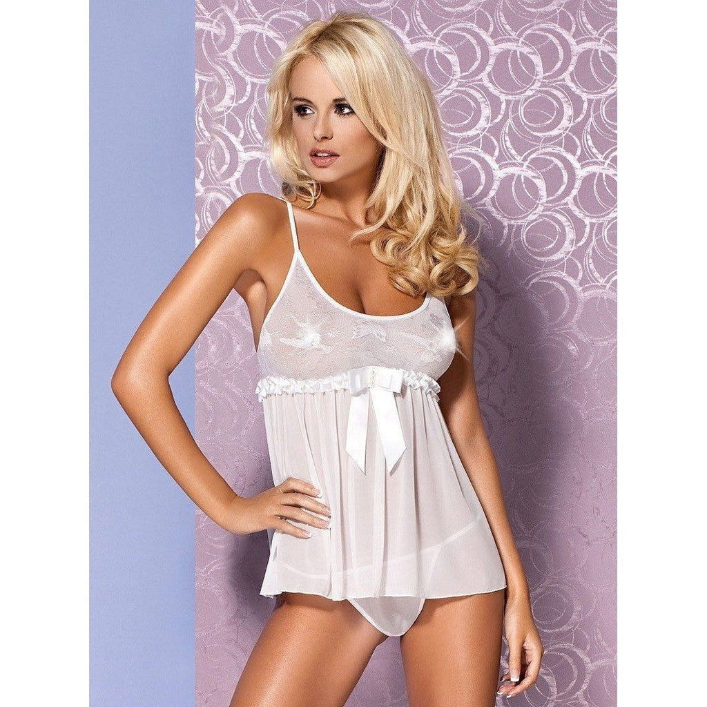 White Babydoll And Thong Panty - White Babydoll And Thong Panty