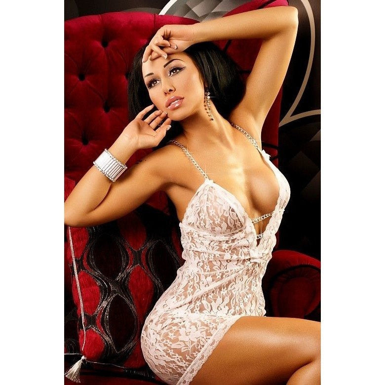 White lace short nightdress - Flirtywomen