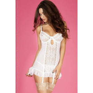 White Nightdress With Adjustable Garter Straps - White Nightdress With Adjustable Garter Straps