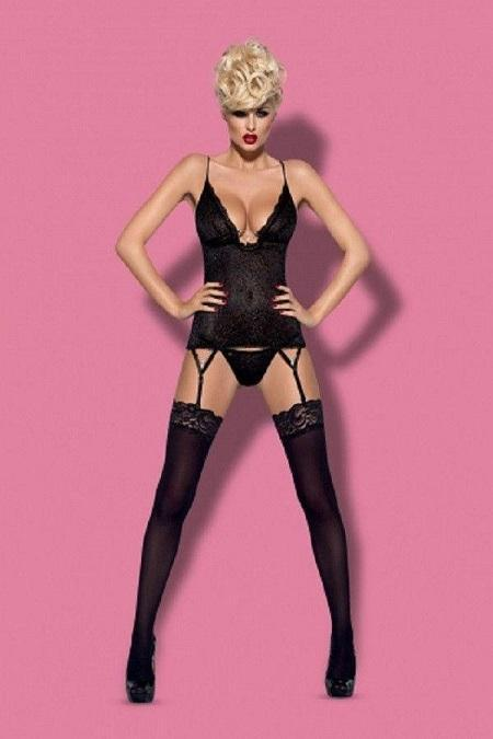 Black Basque style corset and thong set