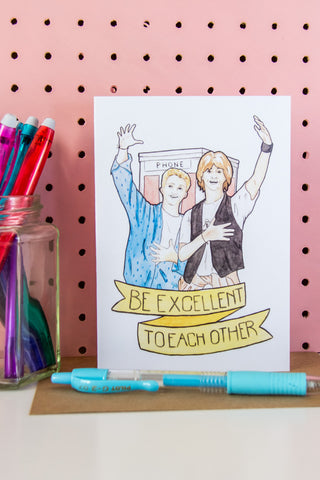 Bill & Ted's Excellent Adventure / Bogus Journey Fan Art Greeting Card