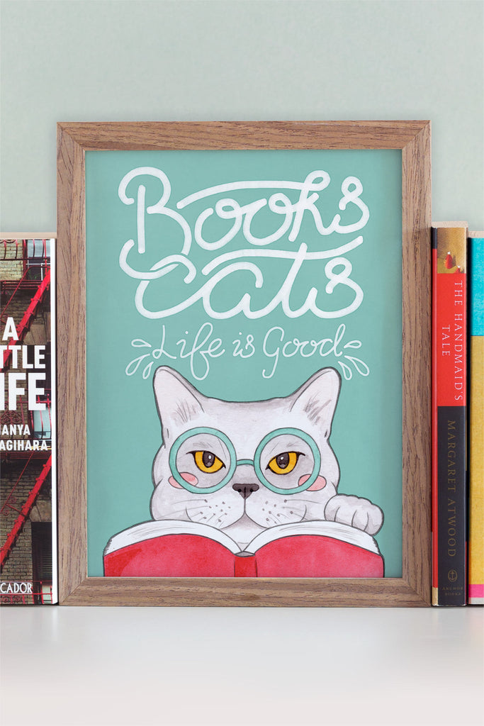 Books, Cats, Life is Good // Edward Gorey Quote Illustrated Art Print