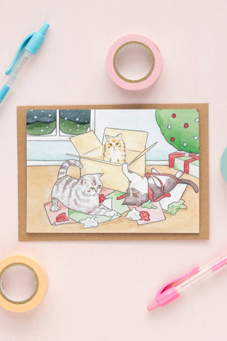 Watercolour Illustrated Christmas Cards // Cats in Boxes with Wrapping Paper