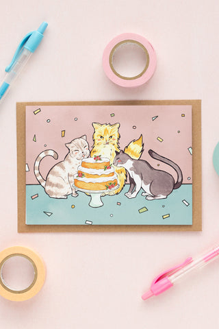 Cats and Cake Celebration / Birthday Card