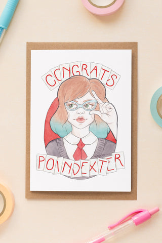 Nerdy Minerva in Vintage Glasses | Watercolour & Pencil Illustration, Greeting Card & Wooden Necklace