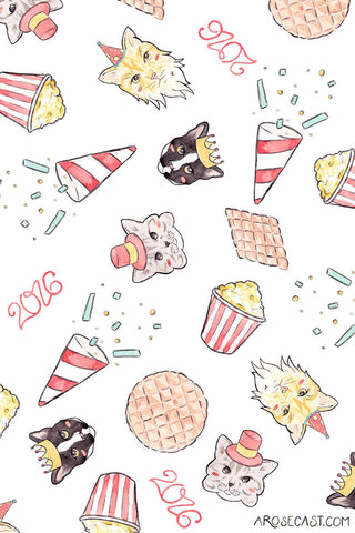 Freebie // Cat-Themed Celebration Wallpapers for the New Year / January 2016