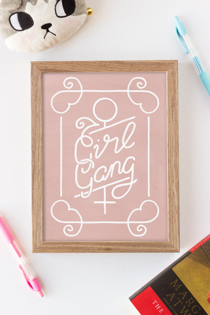 For your Fave Feminist // Girl Gang Art Print, Badges, Mirror & Stickers