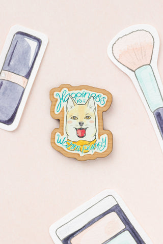 Happiness is a Warm Puppy | Wooden Brooch of a Shiba Inu Dog in a Scarf