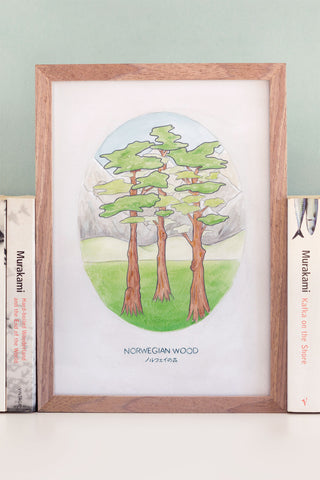Watercolour Illustration of Haruki Murakami's Novel Norwegian Wood