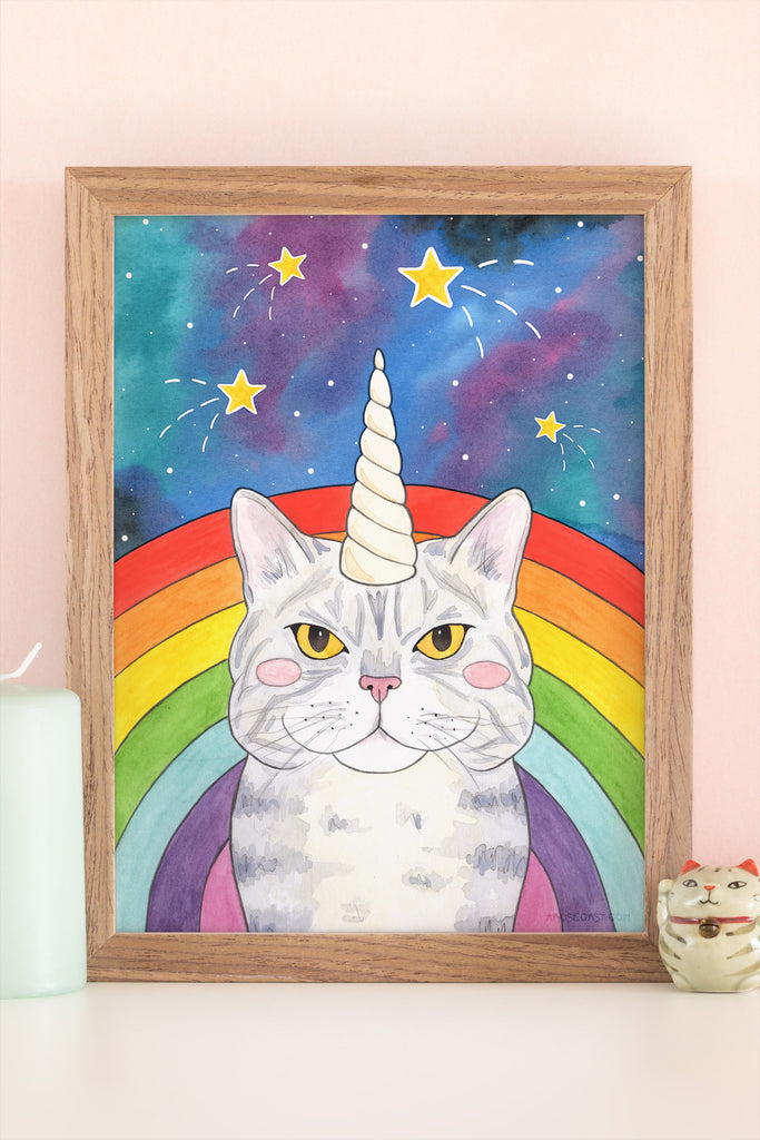 A Rainbow-Flanked Magical Caticorn // New in the Store