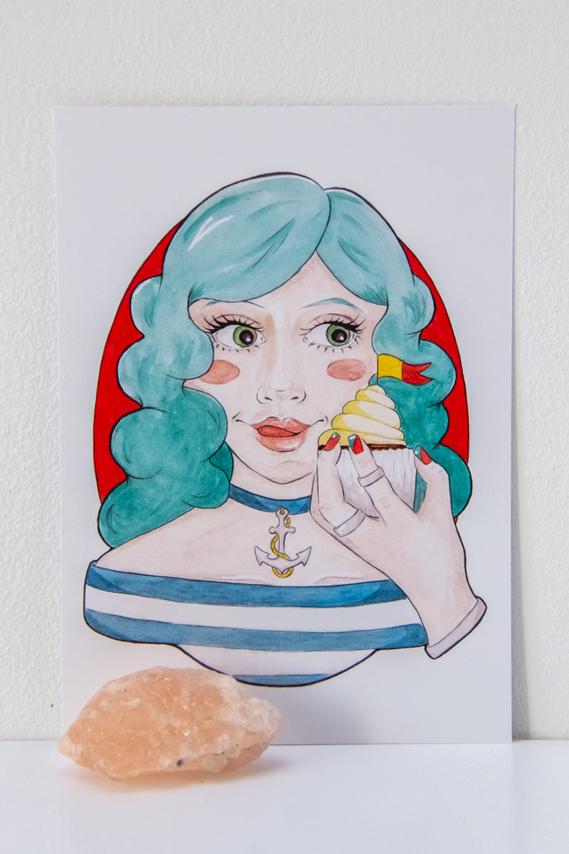 A6 Art Print of Meredith // Pencil & Watercolour Portrait of a Blue-Haired Nautical Girl with a Cupcake