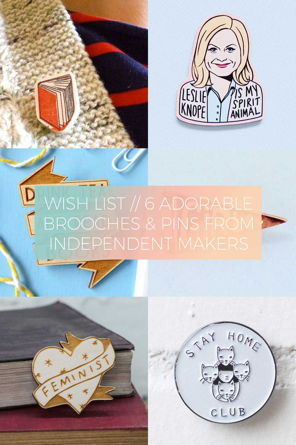 6 Adorable Brooches and Pins from Independent Makers // Wish List