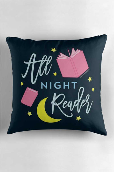 All Night Reader Book Lover Throw Pillow