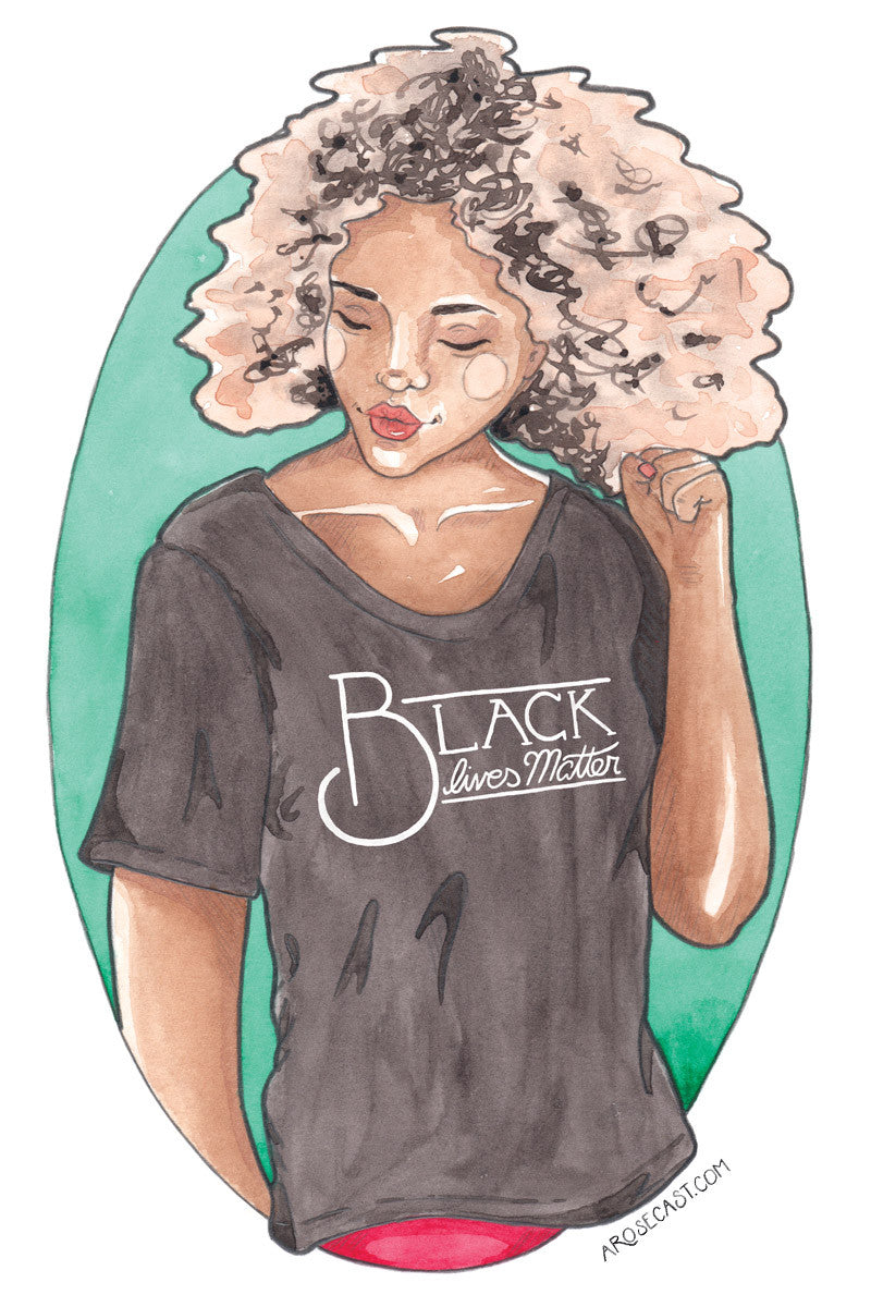 Black Lives Matters // Watercolour illustration of a young pink-haired black woman, Lexy, with fist raised, wearing a t-shirt saying 'Black Lives Matter'