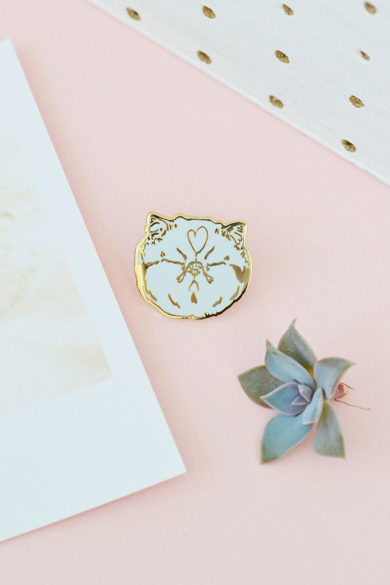Blah Cat Gold Enamel Pin by Hello Harriet