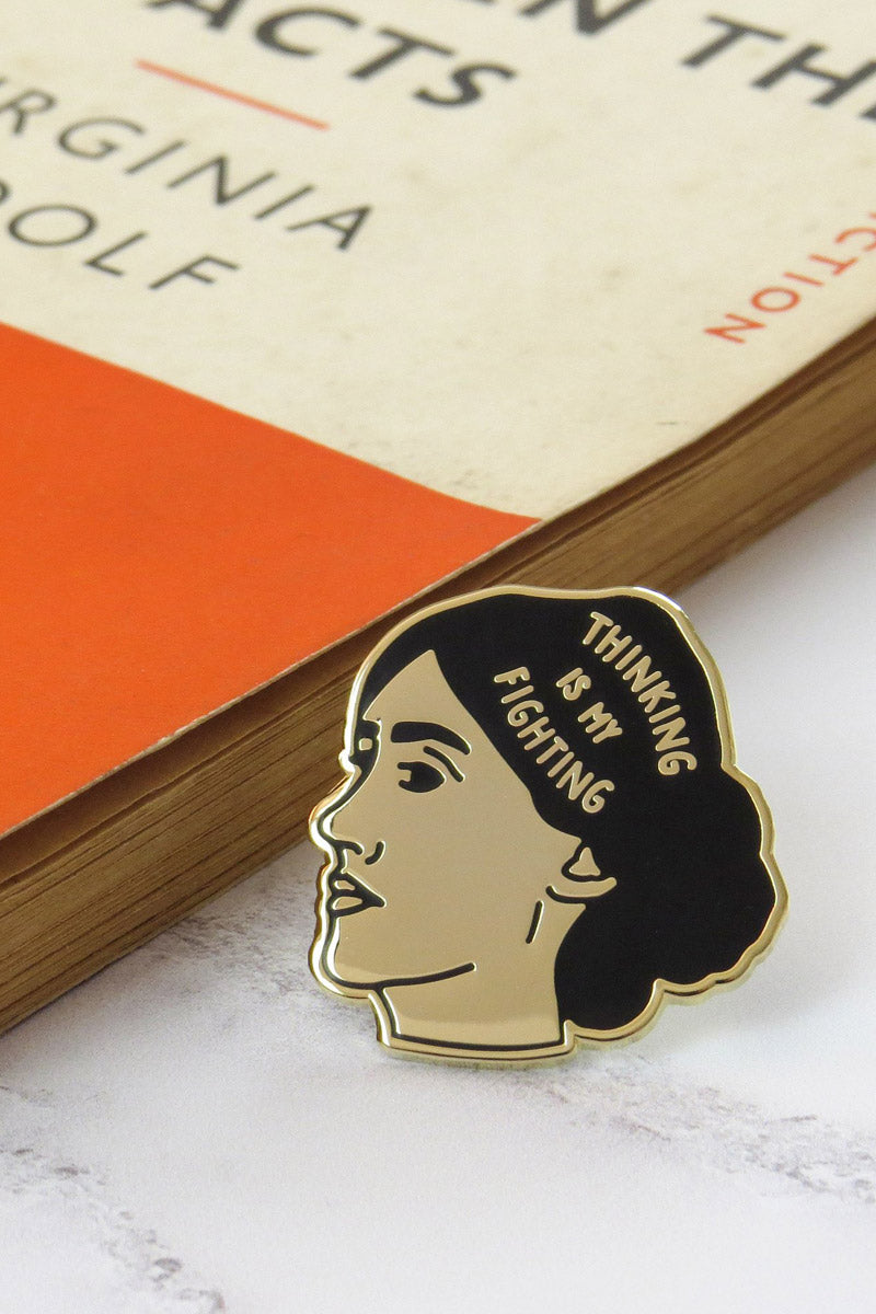 'Thinking is my Fighting' - Virginia Woolf Enamel Pin