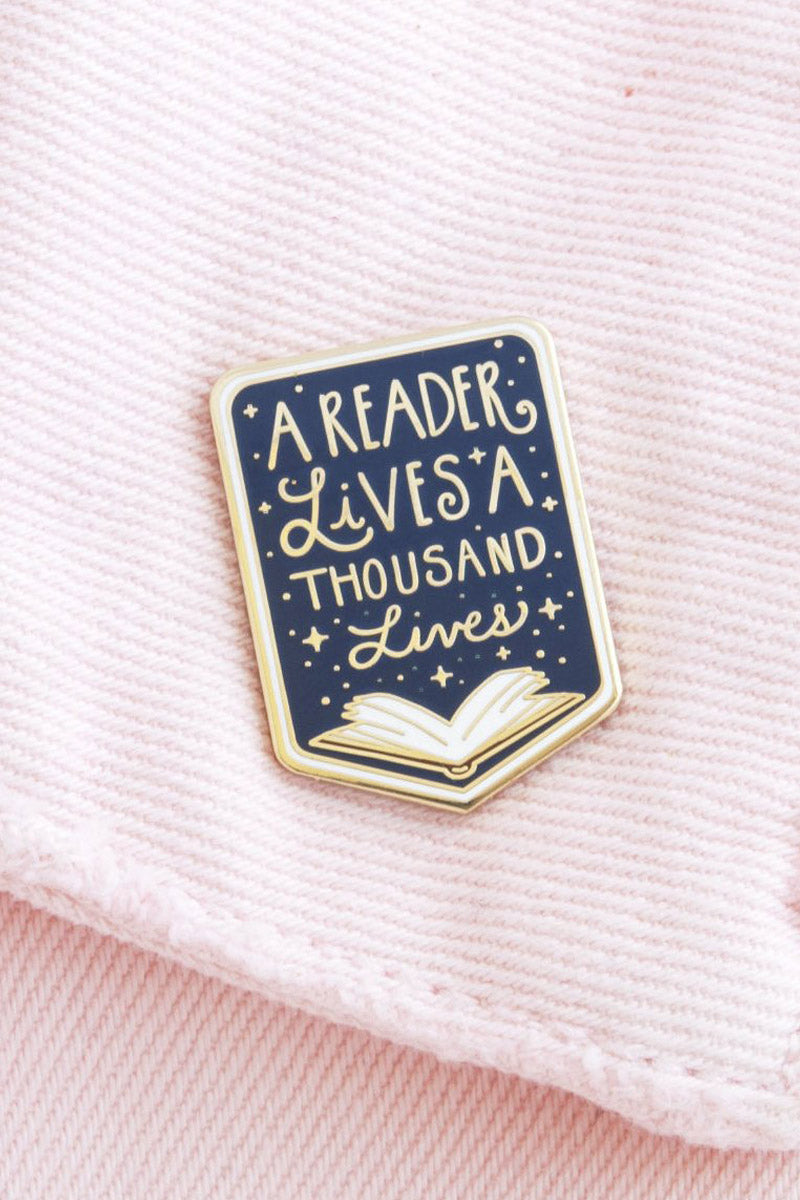 'A reader lives a thousand lives' Enamel Pin