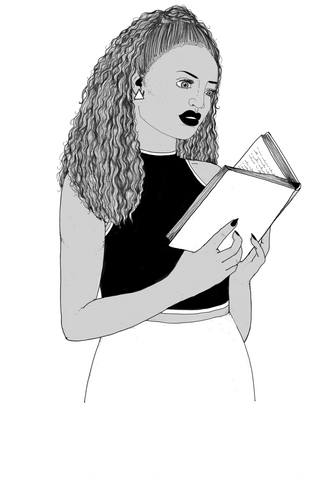 Illustration of a woman reading a book - Books That Matter // A Book Subscription Box for Book Loving Feminists