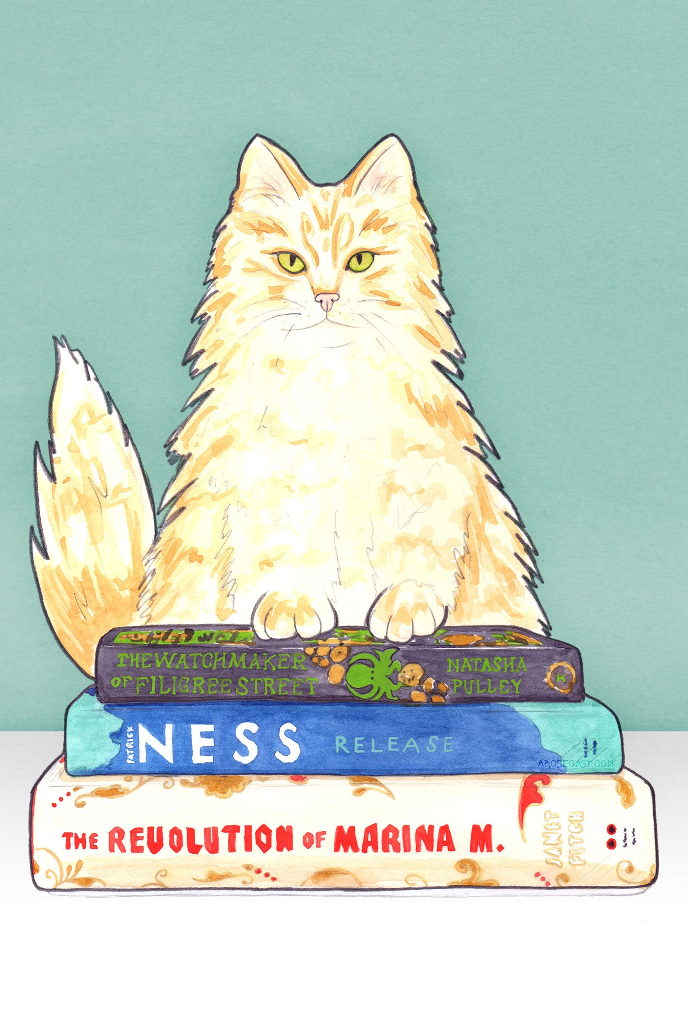 Illustration of Ginger Cat with Books - What I've Been Reading // The Watchmaker of Filigree Street, Release & The Revolution of Marina M.