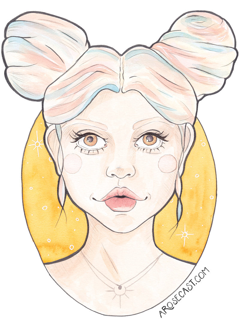 Clio - Watercolour Illustration of a Pink and Blue Haired Girl with Stars by illustrator and designer Karen Murray of A Rose Cast