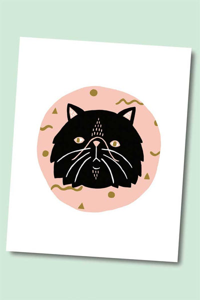 Cosmic Black Persian Cat Art Print