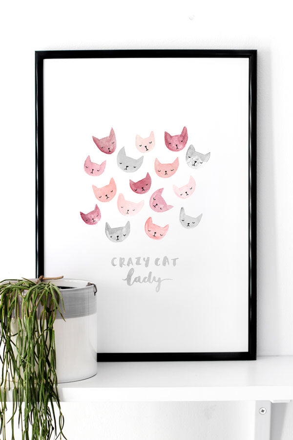 Crazy Cat Lady Art Print by The Lovely Drawer
