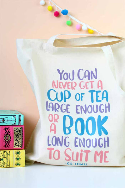 "C.S Lewis Quote Tote Bag - ""You can never get a cup of tea large enough, or a book long enough to suit me"""