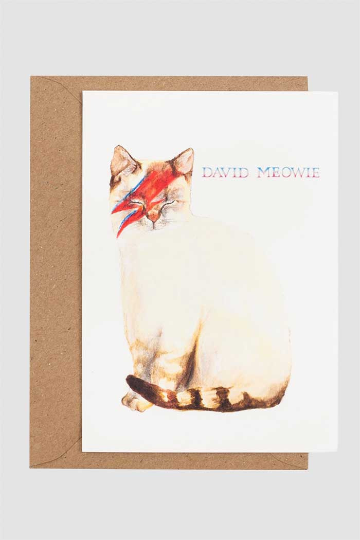 David Meowie Cat Card by Mister Peebles