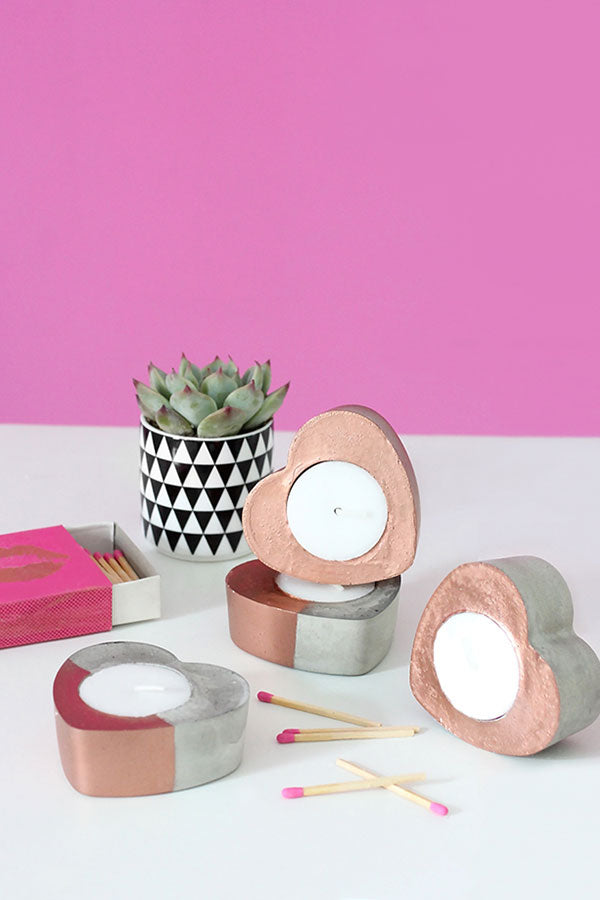 DIY Concrete Clay Copper Heart Candles from I Spy DIY Studio - Perfect for Valentine's Day