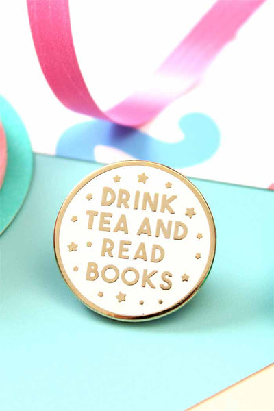 Drink Tea and Read Books Enamel Lapel Pin