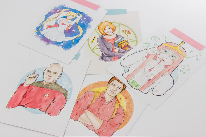 Watercolour Fan Art Illustration of Willow Rosenberg from Joss Whedon's Buffy The Vampire Slayer, and Captain Jean-Luc Picard, from sci-fi epic Star Trek: The Next Generation, Malcolm 'Mal' Reynolds from Joss Whedon's Firefly, and Usagi Tsukino from manga/anime Sailor Moon, and Princess Bubblegum from cartoon Adventure Time