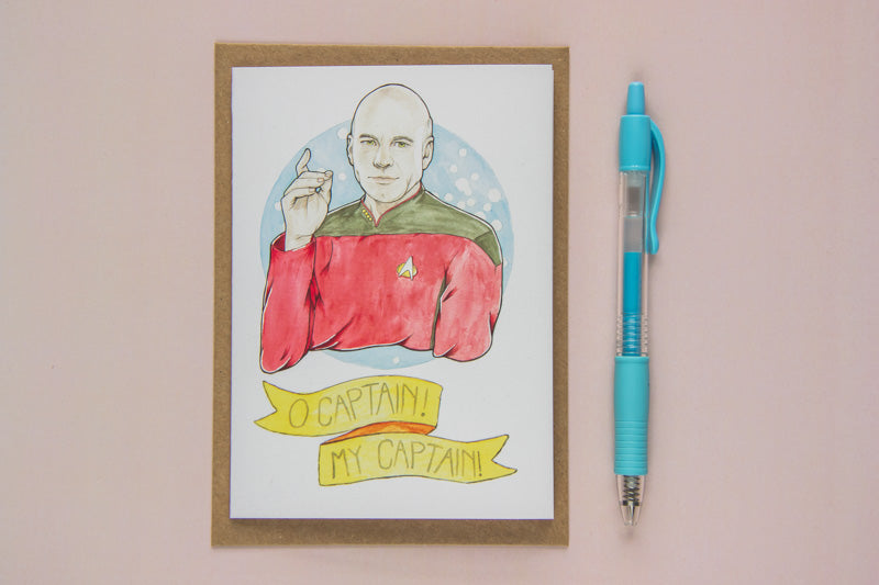 "Greeting Card of Watercolour Fan Art Illustration of Captain Jean-Luc Picard, from sci-fi epic Star Trek: The Next Generation, with text ""O captain! My captain"", by Karen Murray of A Rose Cast"