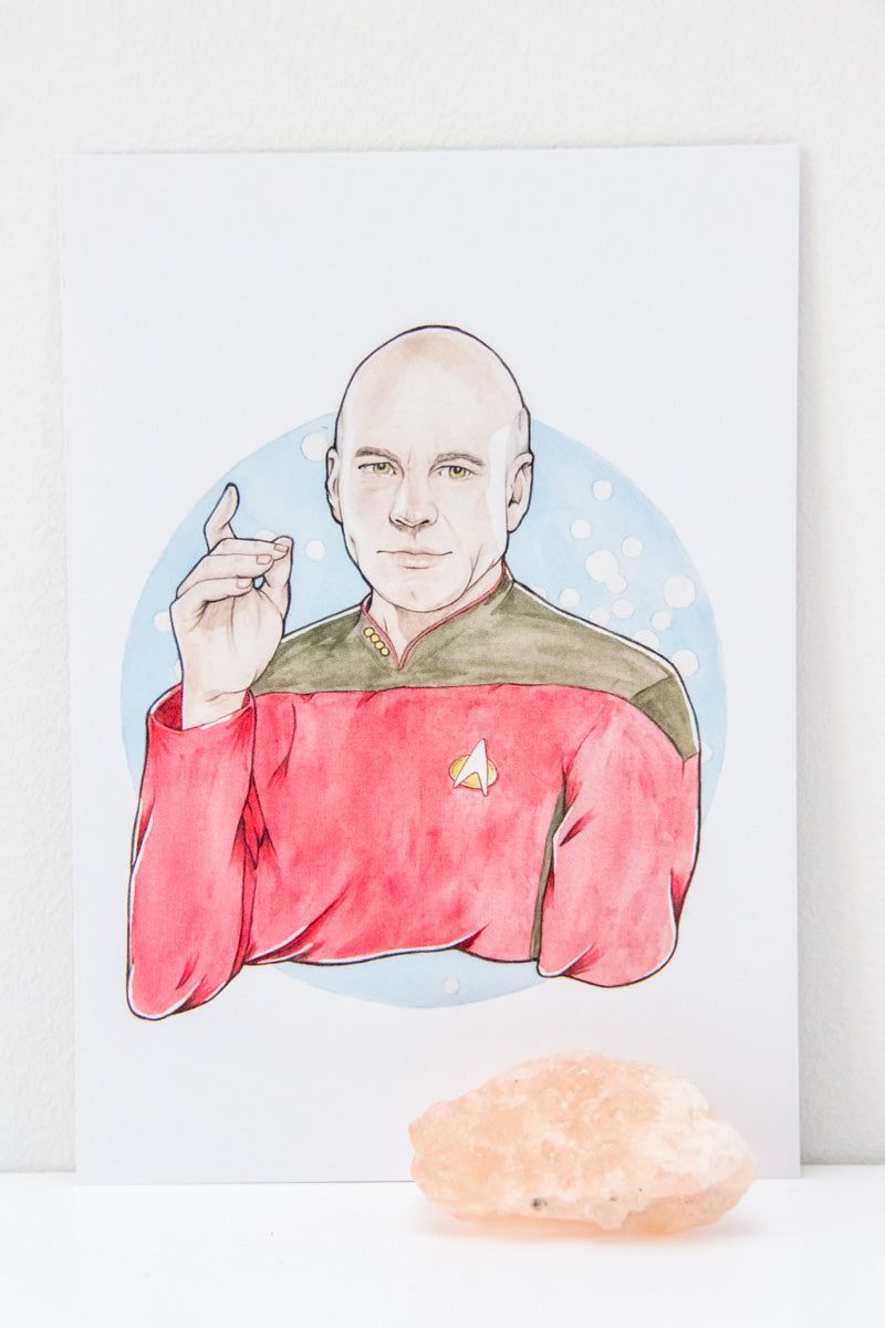 A6 Print of Watercolour Fan Art Illustration of Captain Jean-Luc Picard, from sci-fi epic Star Trek: The Next Generation, by Karen Murray of A Rose Cast