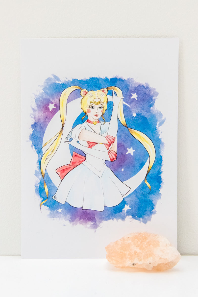 A6 Print of Watercolour Fan Art Illustration of Usagi Tsukino from manga/anime Sailor Moon, by Karen Murray of A Rose Cast