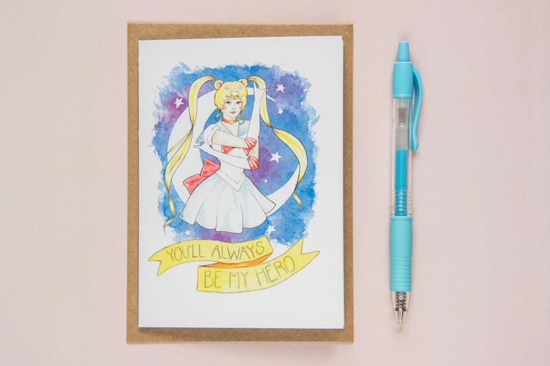 "Greeting Card of Watercolour Fan Art Illustration of Usagi Tsukino from manga/anime Sailor Moon, with text ""I'll always be your sidekick"", by Karen Murray of A Rose Cast"