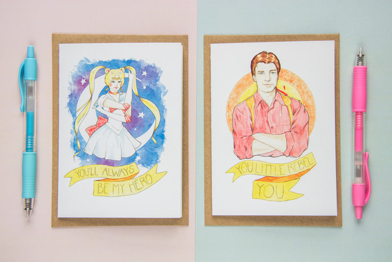 Watercolour Fan Art Greeting Cards of Malcolm 'Mal' Reynolds from Joss Whedon's Firefly, and Usagi Tsukino from manga/anime Sailor Moon