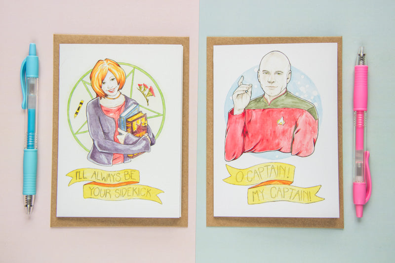 Watercolour Fan Art Greeting Cards of Willow Rosenberg from Joss Whedon's Buffy The Vampire Slayer, and Captain Jean-Luc Picard, from sci-fi epic Star Trek: The Next Generation
