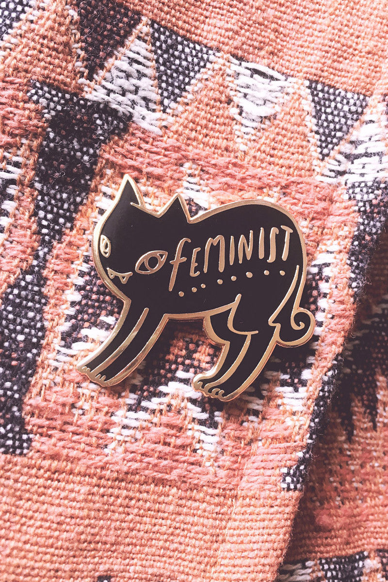 Feminist Black and Gold Cat Enamel Pin by BunnyDee