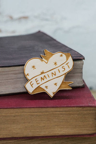 Feminist Illustrated Wooden Brooch