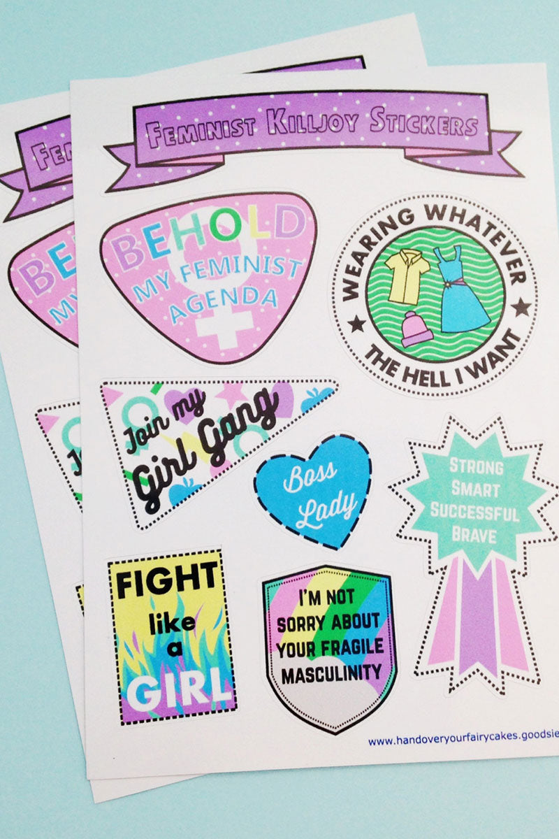 Feminist Killjoy Vinyl Sticker Sheet by Fairy Cakes