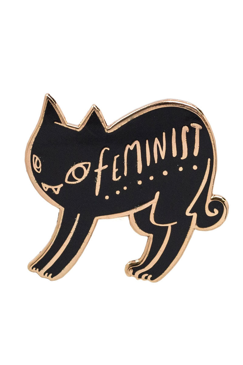 Black and Copper Enamel Pin of a Cat with the Words Feminist from Moorea Seal