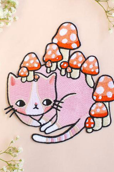 Embroidered Red Polka Dot Mushroom & Pink Kitty Patch